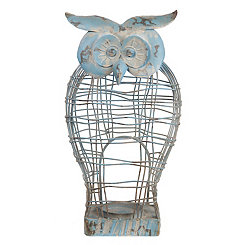 Distressed Blue Owl Metal Candle Holder
