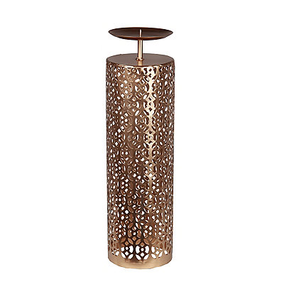 Bronze Oval Cutout Floor Candle Holder, 18.5 in.