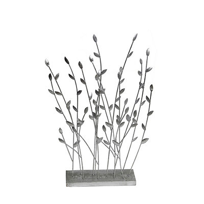 Silver Decorative Leaves Statue
