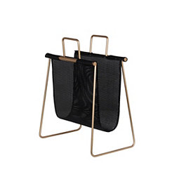 Black and Gold Wicker Magazine Rack