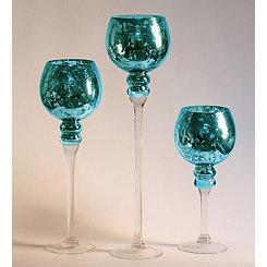 Blue Mercury Glass Charismas, Set of 3