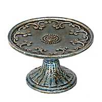 Blue Antiqued Pedestal Plate