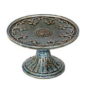 Blue Antiqued Pedestal Plate