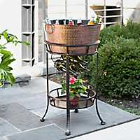 Hammered Metal Beverage Tub with Wine Rack Stand