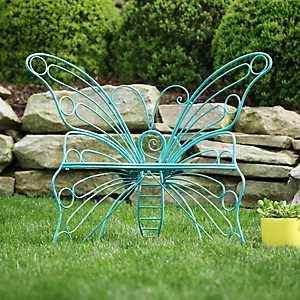Turquoise Butterfly Metal Chair