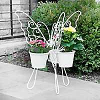 White Butterfly Triple Planter
