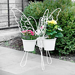 White Butterfly Triple Planter