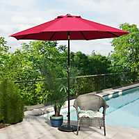 Red and Bronze Patio Umbrella