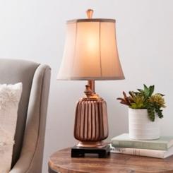 Antique Ridged Copper Table Lamp