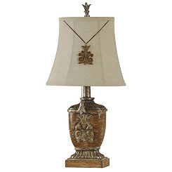 Distressed Wood Tone Traditional Mini Table Lamp