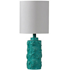 Carved Teal Seashell Table Lamp