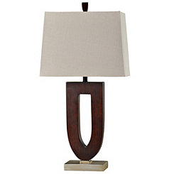 Geometric Faux Wood Table Lamp
