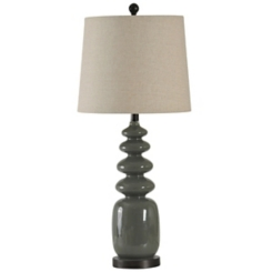 Dark Gray Rounded Geometric Table Lamp