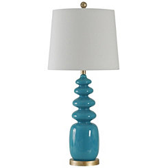 Turquoise Rounded Geometric Table Lamp