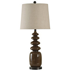 Brown Rounded Geometric Table Lamp