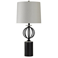 Black Steel Sphere Table Lamp