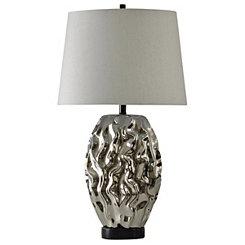 Metallic Silver Modern Table Lamp