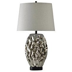 Metallic Silver Modern Table Lamp