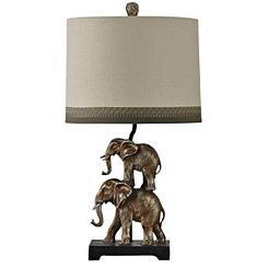 Stacked Silver Elephants Table Lamp