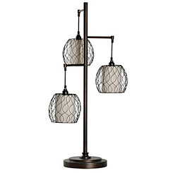 Antique Bronze Triple Cage Table Lamp