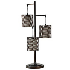 Metal and Rattan Bronze Triple Cage Table Lamp