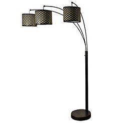 Bronze Triple Arm Metal Mesh Arc Floor Lamp