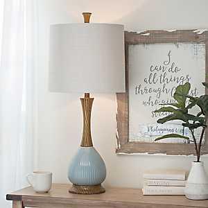 Blue Faux Wood Ceramic Table Lamp