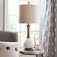 Ivory Faux Wood Ceramic Table Lamp