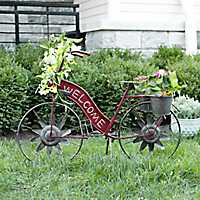 Red Solar Light Welcome Bicycle Planter