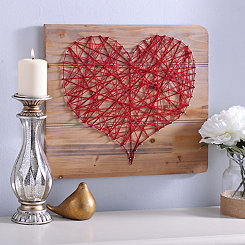 Red Heart String Art Wood Plank Plaque