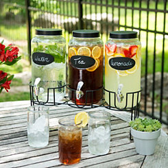 Chalkboard Beverage Dispenser Set