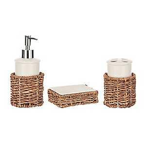 White Ceramic and Rattan 3-pc. Bath Accessory Set