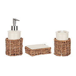 White Ceramic and Rattan 3-pc. Bath Accessory Set