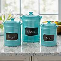Turquoise Chalkboard Kitchen Canisters, Set of 3