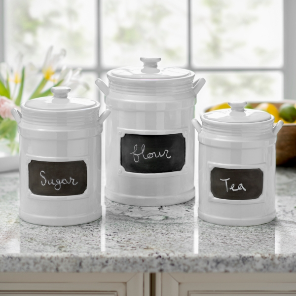 White Chalkboard Kitchen Canisters, Set Of 3