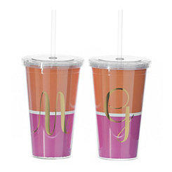 Orange and Pink Colorblock Monogram Tumblers
