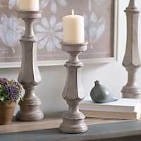 Scalloped Gray Candlestick, 12 in.