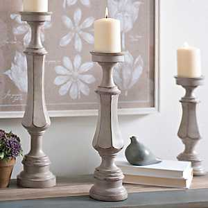 Scalloped Gray Candlestick, 16 in.