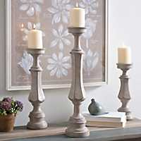 Scalloped Gray Candlesticks