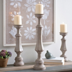 Scalloped Gray Candlestick, 20 in.