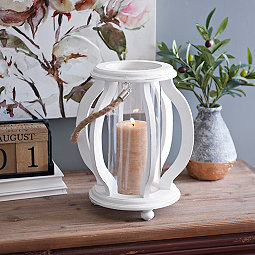 White Cutout Wave Lantern
