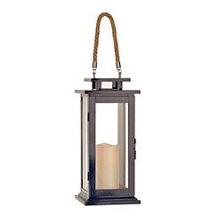 Pre-Lit Navy Blue Metal Lantern