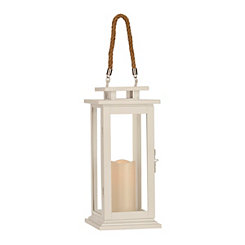 Pre-Lit White Metal Lantern