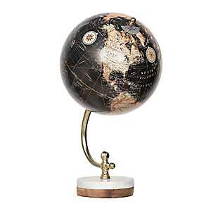 Black Globe on Marble Wood Base
