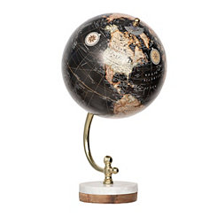 Black Globe on Marble Wood Base