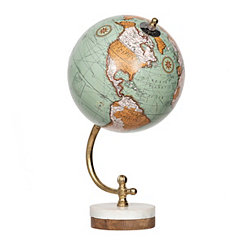 Blue Globe on Marble Wood Base