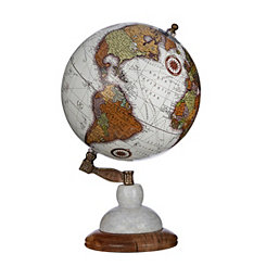 White Globe on Marble Wood Base
