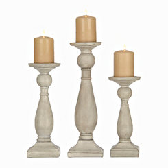 Weathered Gray Candle Holders, Set of 3