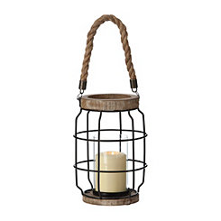 Metal Cage and Rope Lantern