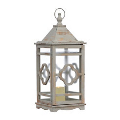 Distressed White Clover Lantern